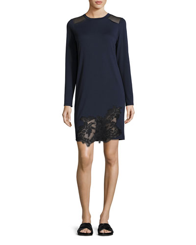 Zuma Long-Sleeve Lace-Trim Shift Dress, Blue/Black