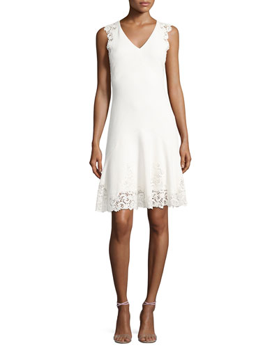 Sleeveless V-Neck Textured Lace Dress, White