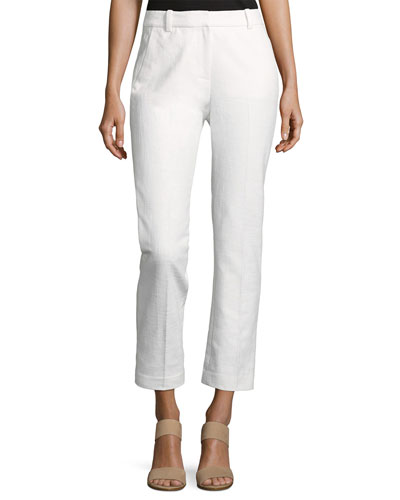 Slub Straight Cropped Ankle Pant, White