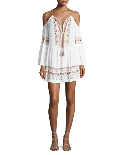 Tribal Beat Cold-Shoulder Coverup Tunic, White