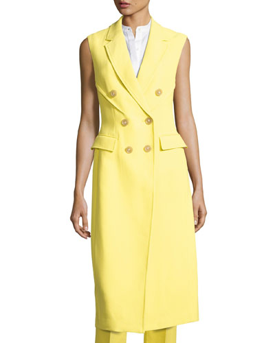Long Double-Breasted Structured Crepe Vest, Citrine
