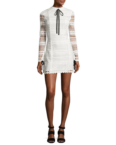 Braelynn Lace Bow-Neck Mini Dress, White/Black