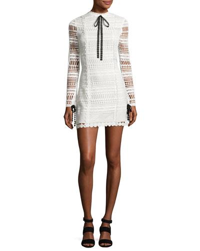 Braelynn Lace Bow-Neck Mini Dress, White/Black