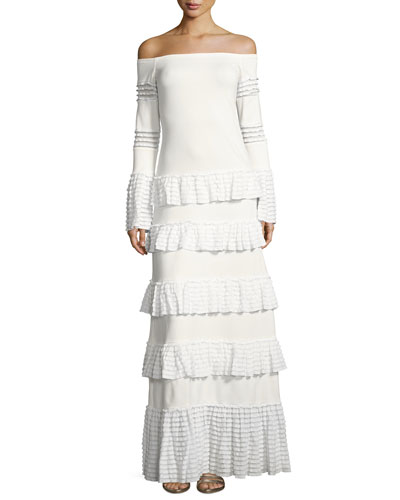 Sylar Off-the-Shoulder Tiered Knit Maxi Dress, White