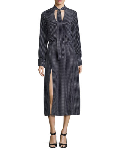 Noelle Polka-Dot Tie-Neck Slit Midi Dress, Navy Blue