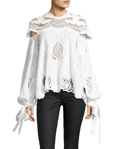 Crochet-Embroidered Blouson-Sleeve Top, White