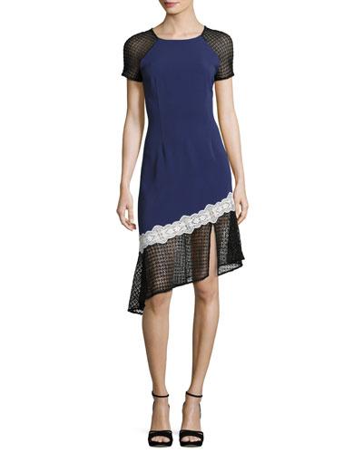 Multimedia Corded Asymmetric-Ruffle Dress, Blue Pattern