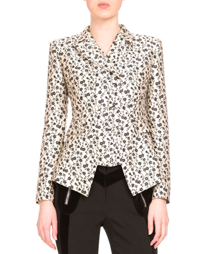 Floral Jacquard Double-Breasted Jacket, Black/White