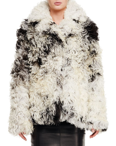 Curly Shearling Fur Coat, Black/Chalk