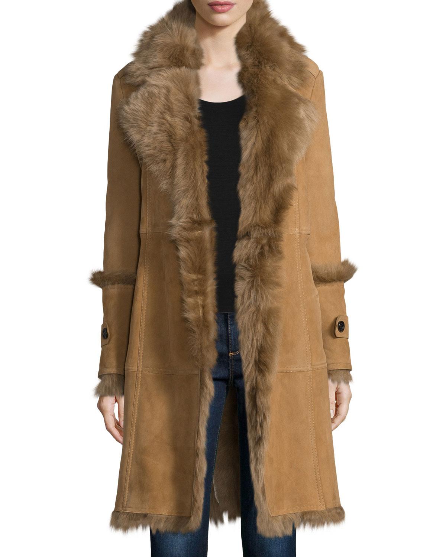 Northcote Belted Shearling Fur Coat, Camel