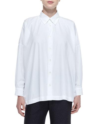 Relaxed Drop-Shoulder Button Blouse