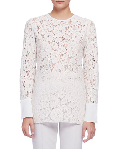 Long-Sleeve Lace Blouse