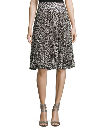 Pleated Silk Leopard-Print Skirt