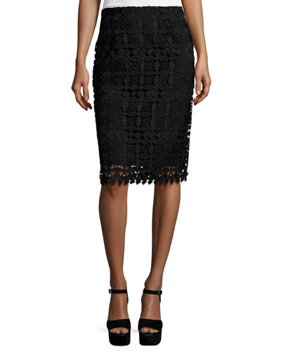 Floral Lace Pencil Skirt, Black