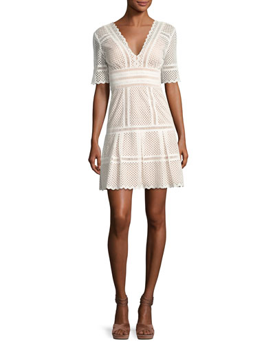 Scalloped Eyelet Elbow-Sleeve Dress, White