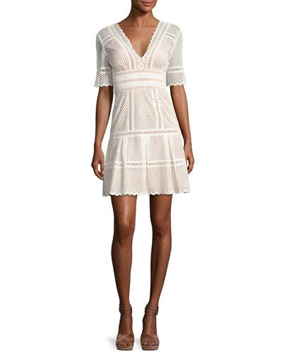 Scalloped Eyelet Elbow-Sleeve Dress, White
