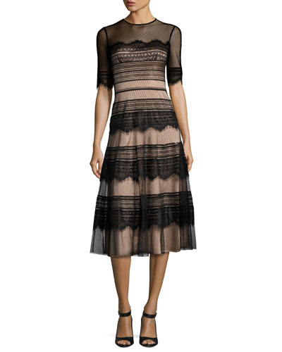 Half-Sleeve Point d'Esprit Lace Dress, Black
