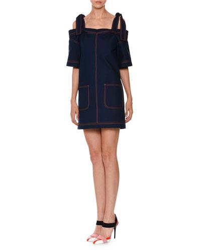 Cold-Shoulder Cotton Shift Dress, Blue