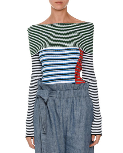 Off-the-Shoulder Ribbed Striped Sweater, Multicolor