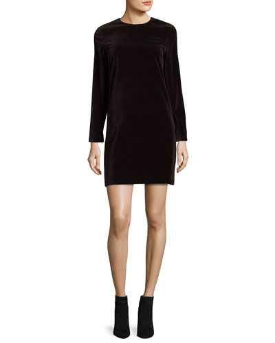 Wynter Stretch-Velvet Shift Dress, Plum