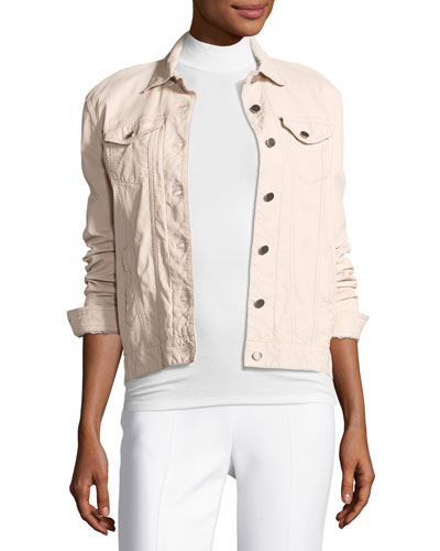 Leather Button-Front Jacket, Blush