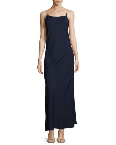 Bredes Scoop-Back Maxi Slip Dress, Blue