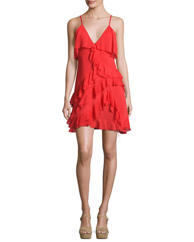 Lavinia Sleeveless Raw-Edge Ruffle Mini Dress, Bright Red