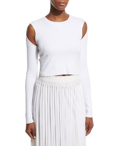 Long-Sleeve Jersey Cold-Shoulder Crop Top, White