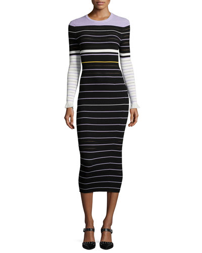 Long-Sleeve Striped Midi Dress, Lavender/Multicolor