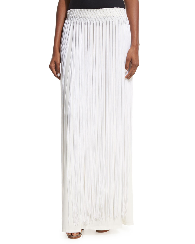 Long Fringe Maxi Skirt, White