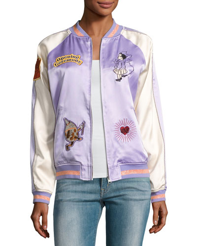 Fairytale Embroidered Silk Reversible Bomber Jacket, Lavender
