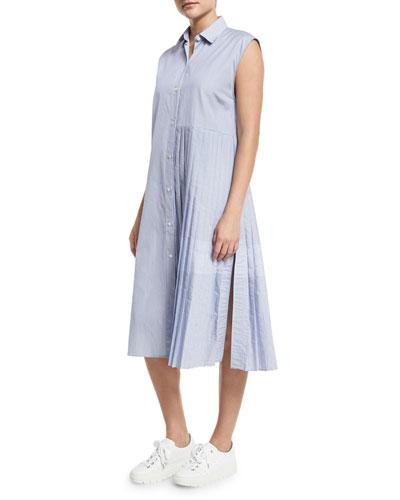 Emerson Sleeveless Pleated Striped Shirtdress, Blue/White