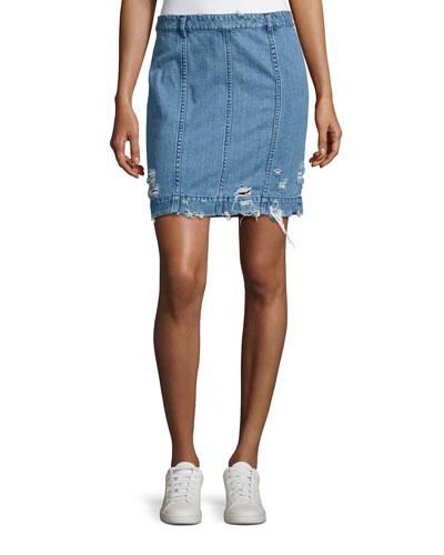 Distressed Stretch Denim Skirt, Indigo