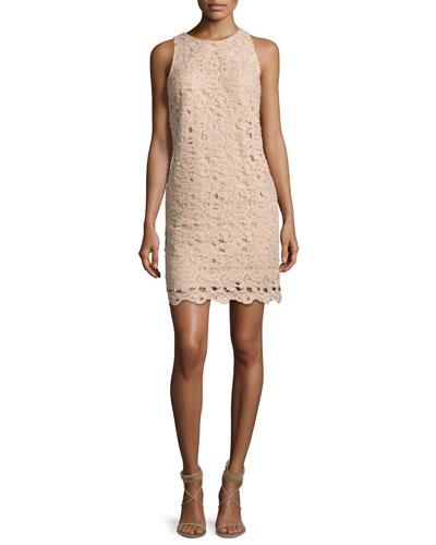 Sleeveless Paisley Lace Cocktail Dress, Blush
