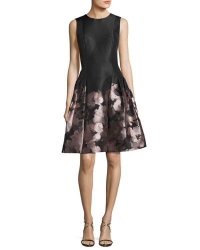 Sleeveless Floral Brocade Fit-and-Flare Dress, Blush/Black