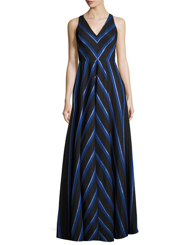 Sleeveless Striped Ball Gown, Black/White