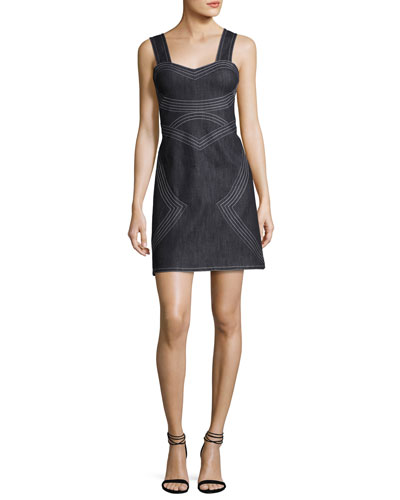 Sleeveless Geometric Chambray Sheath Dress, Indigo