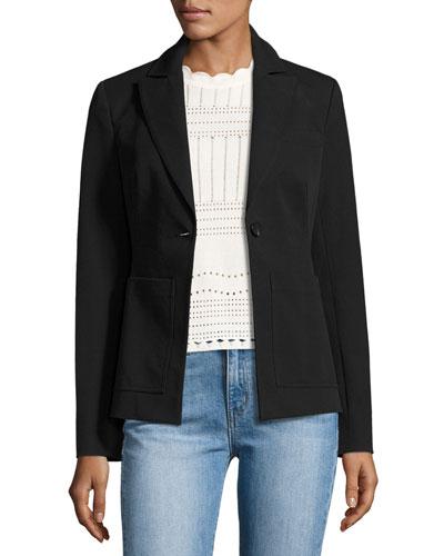 Single-Button Stretch Blazer, Black