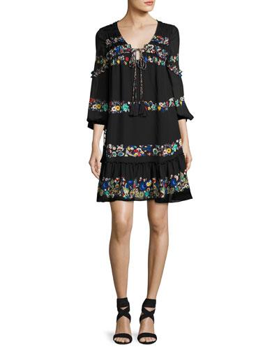Floral-Stripe Silk Mini Dress, Black
