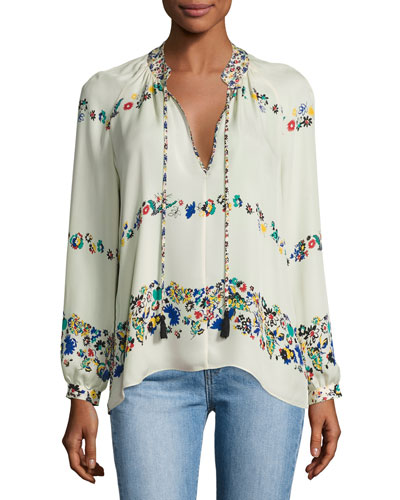 Nehru Long-Sleeve Floral Silk Blouse