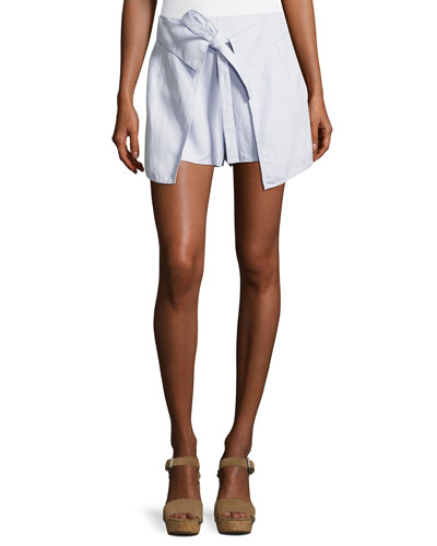 Tie-Front Wrap Shorts, Sky