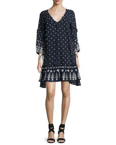 Bell-Sleeve Embroidered Ruffle Dress, Navy