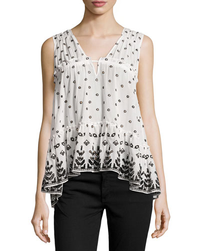Sleeveless Printed Voile Ruffle Blouse, White