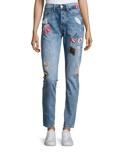 High-Rise Patch Denim Jeans, Blue