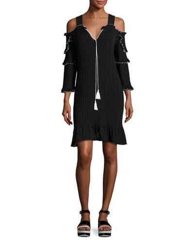 Pliss?? Cold-Shoulder Mini Dress, Black/White