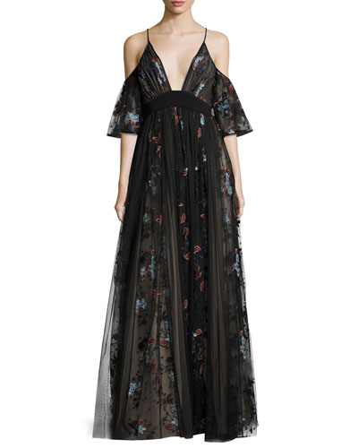 Sequoia Floral-Embroidered Cold-Shoulder Tulle Gown