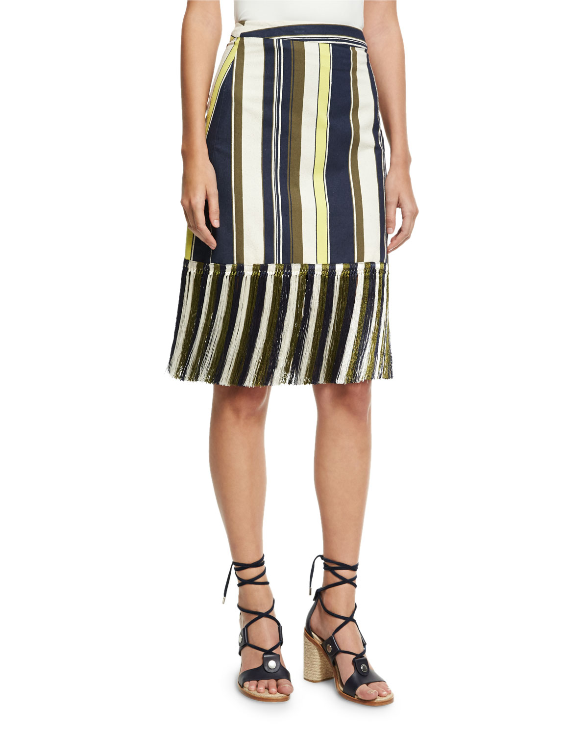 Striped Fringe-Hem Skirt