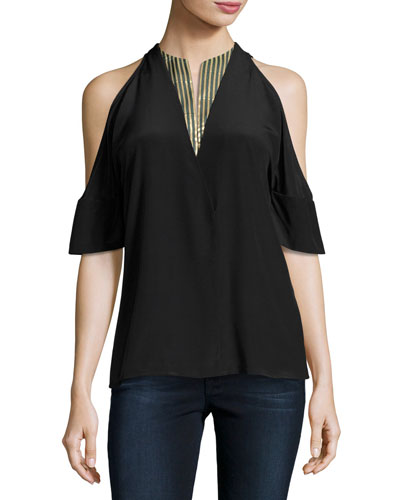 Crepe Cold-Shoulder Blouse