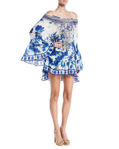 Embellished Silk Off-the-Shoulder Frill Dress