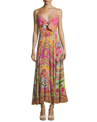 Embellished Tie-Front A-Line Maxi Dress, Hani Honey